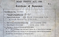 BNPS.co.uk (01202) 558833.<br /> Pic: HenryAldridge&Son/BNPS<br /> <br /> Oh Yes! Churchill's car insurance...<br /> <br /> A car insurance certificate issued to Sir Winston Churchill 90 years ago has emerged for sale for £1,500.<br /> <br /> It gave him permission to drive his Wolseley Landaulette between January 1 and June 28, 1931, while the then-56 year old was serving as the MP for Epping in opposition.<br /> <br /> The one-page document, issued by the Alliance Assurance Company Ltd, is in the name of 'The Right Honourable Winston Churchill MP' and has his car registration number YP 4107.<br /> <br /> It is going under the hammer with auctioneers Henry Aldridge & Son, of Devizes, Wilts, who describe it as a 'fabulous piece of history'.