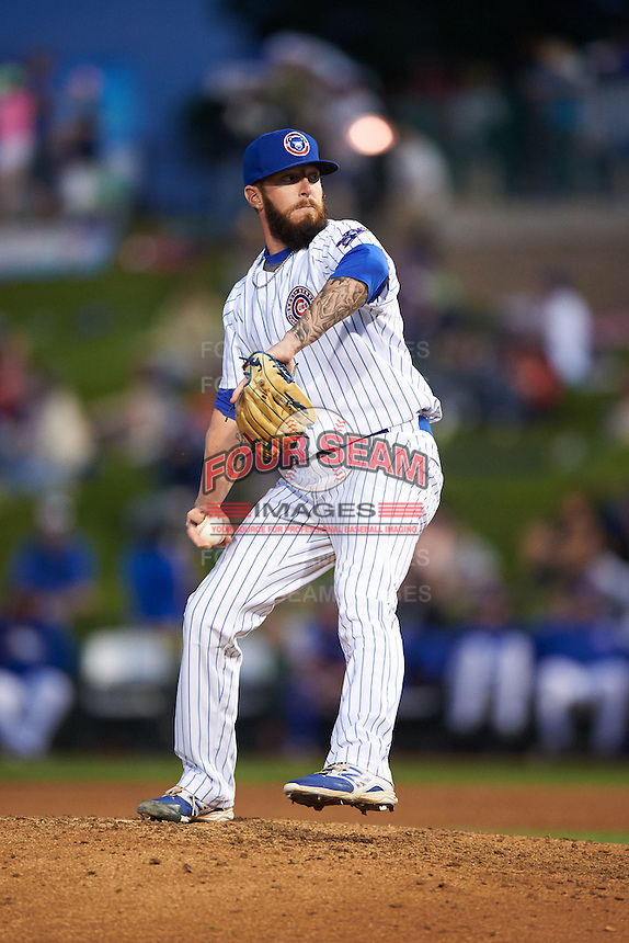 South Bend Cubs pitcher Daniel Lewis (16) delivers a pitch during a game against the Cedar Rapids Kernels on June 5, 2015 at Four Winds Field in South Bend, Indiana.  South Bend defeated Cedar Rapids 9-4.  (Mike Janes/Four Seam Images)