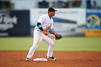 Tampa Yankees shortstop Gleyber Torres (11) waits for a throw during a game against the Daytona Tortugas on August 5, 2016 at George M. Steinbrenner Field in Tampa, Florida.  Tampa defeated Daytona 7-1.  (Mike Janes/Four Seam Images)