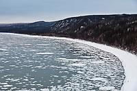 Pancake ice in the Yukon River, Interior, Alaska.