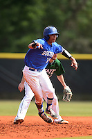 U-Mass Boston Beacons Delvis Baez (15) during a game against the Farmingdale State Rams at North Charlotte Regional Park on March 19, 2015 in Port Charlotte, Florida.  U-Mass Boston defeated Farmingdale 9-5.  (Mike Janes/Four Seam Images)