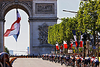 18th July 2021; Paris, France;  The peloton at Arc De Triomphe during stage 21 of the 108th edition of the 2021 Tour de France cycling race, the stage of 108,4 kms between Chatou and finish at the Champs Elysees in Paris.