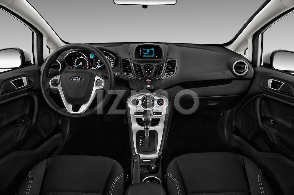Stock photo of straight dashboard view of 2017 Ford Fiesta SE 5 Door Hatchback Dashboard