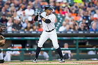 Dixon Machado (49) of the Detroit Tigers at bat against the Chicago White Sox at Comerica Park on June 2, 2017 in Detroit, Michigan.  The Tigers defeated the White Sox 15-5.  (Brian Westerholt/Four Seam Images)