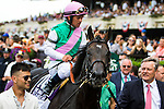 ELMONT, NY - JUNE 11: Flintshire, ridden by Javier Castellano, is led to the winner's circle after winning the Woodford Reserve Manhattan Stakes on Belmont Stakes Day before the 148th Belmont Stakes on June 11, 2016 in Elmont, New York. (Photo by Sue Kawczynsk/Eclipse Sportswire/Getty Images)