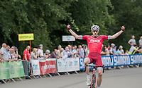 stage winner José Gonçalves (POR/Katusha-Alpecin) crossing the finish line<br /> <br /> Ster ZLM Tour (2.1)<br /> Stage 4: Hotel Verviers > La Gileppe (Jalhay)(190km)