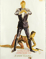 BNPS.co.uk (01202) 558833. <br /> Pic: Ewbanks/BNPS<br /> <br /> Pictured: Also included in the sale is the original artwork for the design of the poster for A View To A Kill by Eric Pulford. Estimate<br /> £4,000.<br /> <br /> A rare movie poster for the James Bond film Thunderball that was designed to be torn into four pieces is tipped to sell for £12,000.<br /> <br /> The quad poster contains four individual works of art promoting the 1965 movie.<br /> <br /> The panels show Sean Connery as 007 flying through the air in a jet suit, being mobbed by glamorous women, fighting a scuba diver and sat on a beach poised with weapon in hand.