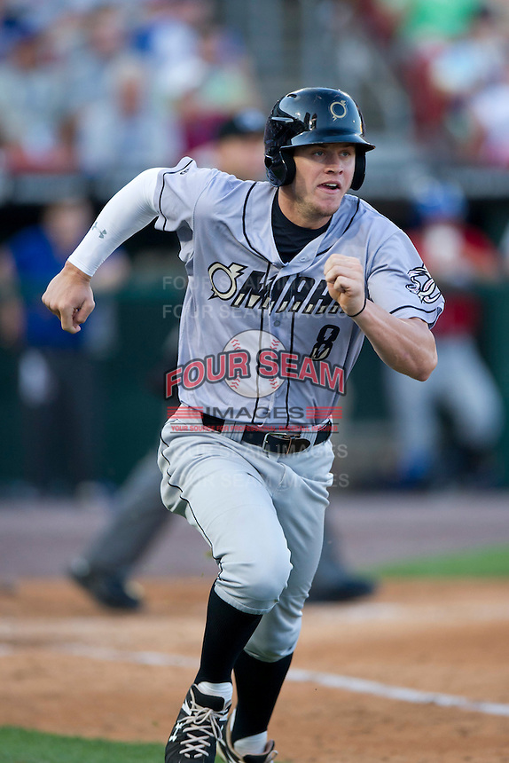 Omaha Royals outfielder Wil Myers #8 runs up the baseline during the Triple-A All-Star Game Coca-Cola Field on July 11, 2012 in Buffalo, New York.  The Pacific Coast League defeated the International League 3-0.  (Mike Janes/Four Seam Images via AP Images)
