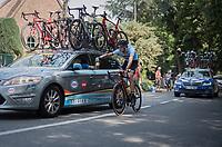 Franklin Six (BEL/AGO-Aqua Service) getting a sticky bidon from Belgian headcoach  Kevin De Weert<br /> <br /> 70th Halle Ingooigem 2017 (1.1)<br /> 1 Day Race: Halle > Ingooigem (201km)