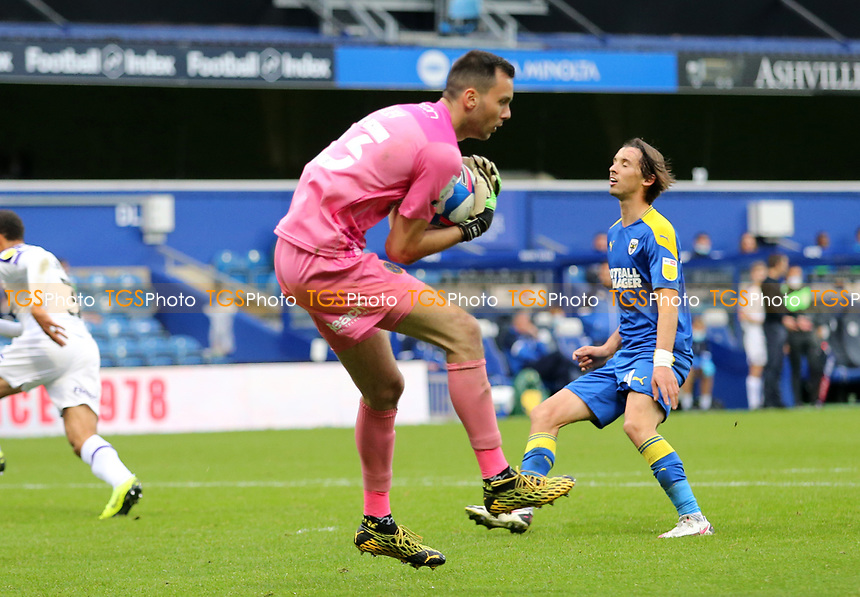 Dejan Iliev of Shrewsbury Town collects the ball during AFC Wimbledon vs Shrewsbury Town, Sky Bet EFL League 1 Football at The Kiyan Prince Foundation Stadium on 17th October 2020