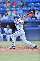 Asheville Tourists center fielder Will Golsan (8) swings at a pitch during a game against the Augusta GreenJackets  at McCormick Field on June 4, 2019 in Asheville, North Carolina. The GreenJackets defeated the Tourists 7-6. (Tony Farlow/Four Seam Images)