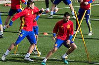 Spainsh Alvaro Morata and Sergio Busquets during the training of the spanish national football team in the city of football of Las Rozas in Madrid, Spain. November 09, 2016. (ALTERPHOTOS/Rodrigo Jimenez) ///NORTEPHOTO.COM
