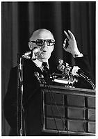 Le Maire de Montreal Jean Drapeau, <br /> le  2<br />  novembre 1978<br /> durant la campagne pour sa ré-élection, <br /> <br /> PHOTO : JJ Raudsepp  - Agence Quebec presse