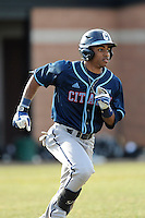 Second baseman Mason Davis (20) of the Citadel runs out a hit in a game against the University of South Carolina Upstate Spartans on Tuesday, February, 18, 2014, at Cleveland S. Harley Park in Spartanburg, South Carolina. Upstate won, 6-2. (Tom Priddy/Four Seam Images)