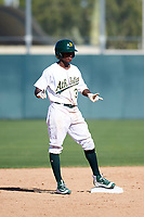 Oakland Athletics second baseman Marcos Brito (3) stands on second base during an Instructional League game against the Cincinnati Reds on September 29, 2017 at Lew Wolff Training Complex in Mesa, Arizona. (Zachary Lucy/Four Seam Images)