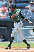 Augusta Green Jackets left fielder Rafael Rodriguez #25 swings at a pitch during a game against the Asheville Tourists at McCormick Field on July 10, 2011 in Asheville, North Carolina.  Augusta won the game 10-2.   (Tony Farlow/Four Seam Images)