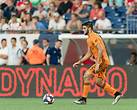 FOXBOROUGH, MA - JUNE 29: Alejandro Fuenmayor #2 dribbles at midfield during a game between Houston Dynamo and New England Revolution at Gillette Stadium on June 29, 2019 in Foxborough, Massachusetts.