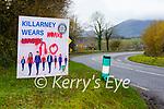 Graffiti sprayed on the Killarney Wears Masks sign at Killcummin cross on the Killarney-Farranfore road on Tuesday