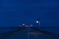 Boardwalk pier at night. Cape Helopen State Park, Delaware