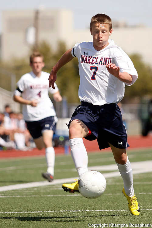 Frisco Wakeland's Hayden Partain goes after the ball against Kilgore during a region II 4A boys high school soccer in Carrollton on April 3, 2010.  Cantor scored early in the first half to help Wakeland defeat Kilgore 2-0.  (photo by Khampha Bouaphanh)