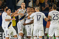 CARSON, CA - SEPTEMBER 15: Zlatan Ibrahimovic #9 of the Los Angeles Galaxy of the Los Angeles Galaxy scores a goal and celebrates during a game between Sporting Kansas City and Los Angeles Galaxy at Dignity Health Sports Complex on September 15, 2019 in Carson, California.