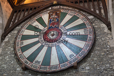Great Britain, England, Hampshire, Winchester: King Arthur`s Round Table inside The Great Hall, dendrochronology dating has placed it at 1275
