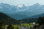 Spring scenic of Colorado's Front Range above downtown Estes Park, Colorado, Rocky Mountains