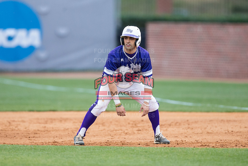 Tim Mansfield (3) of the High Point Panthers takes his lead off of first base against the NJIT Highlanders during game two of a double-header at Williard Stadium on February 18, 2017 in High Point, North Carolina.  The Highlanders defeated the Panthers 4-2.  (Brian Westerholt/Four Seam Images)