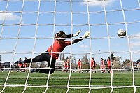 goalkeeper Ianthe Meerschaert (31) of Zulte-Waregem pictured during the warming up of a female soccer game between SV Zulte - Waregem and KRC Genk Ladies on the 2nd matchday in play off 2 of the 2020 - 2021 season of Belgian Scooore Womens Super League , saturday 17 th of April 2021  in Zulte , Belgium . PHOTO SPORTPIX.BE | SPP | DIRK VUYLSTEKE