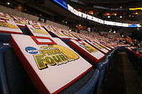 6 April 2008: Final Four giveaways during Stanford's 82-73 win against the Connecticut Huskies in the 2008 NCAA Division I Women's Basketball Final Four semifinal game at the St. Pete Times Forum Arena in Tampa Bay, FL.