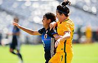 San Diego, CA - Sunday July 30, 2017: Mizuho Sakaguchi, Lisa De Vanna during a 2017 Tournament of Nations match between the women's national teams of the Australia (AUS) and Japan (JAP) at Qualcomm Stadium.