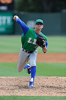 Pitcher Chas Byrne (4) of the Lexington Legends in a game against the Greenville Drive on Friday, August 18, 2013, at Fluor Field at the West End in Greenville, South Carolina. Lexington won, 5-0. (Tom Priddy/Four Seam Images)