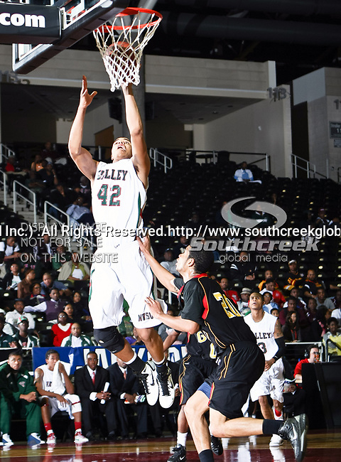 Mississippi Valley State Delta Devils forward Jason Holmes (42)  in action during the SWAC Tournament game between the Grambling State Tigers and the Mississippi Valley State Delta Devils at the Special Events Center in Garland, Texas. Grambling State defeats Mississippi Valley 65 to 62