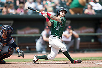 Great Lakes Loons outfielder Saige Jenco (1) follows through on his swing against the Bowling Green Hot Rods during the Midwest League baseball game on June 4, 2017 at Dow Diamond in Midland, Michigan. Great Lakes defeated Bowling Green 11-0. (Andrew Woolley/Four Seam Images)