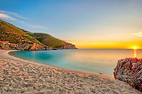 The sunrise at the beach Kalamos in Evia, Greece