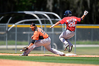 Baltimore Orioles infielder Aaron Baker (56) takes a throw as Shannon Wilkerson (26) runs through the bag during a minor league Spring Training game against the Boston Red Sox at Buck O'Neil Complex on March 25, 2013 in Sarasota, Florida.  (Mike Janes/Four Seam Images)