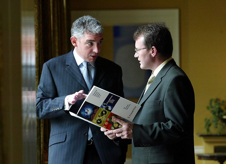 """John Cunningham, Friends First General Manager Group Planning & Marketing (left) and Jim Power, Friends First Chief Economist, pictured here today at the launch of the Friends first Quarterly Economic Outlook entitled """" Competitiveness - The Key Challenge Ahead"""" held in the Merrrion Hotel, Dublin. Pic. Robbie Reynolds. ."""