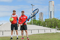 October 24, 2018: MotoGP riders Andrea Dovizioso and Jack Miller pose for photographs after playing tennis at Melbourne Park before the 2018 MotoGP of Australia to be held at Phillip Island Grand Prix Circuit, Victoria, Australia. Photo Sydney Low