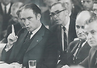 1969 FILE PHOTO - ARCHIVES -<br /> <br /> Attack - and counterattack featured the confrontation between federal and provincial leaders at the constitutional coference in ottawa Yesterday. Ontario Premier John Robarts and Quebec Premier Jean-Jacques Bertrand joined to attack Ottawa tax policies; but split on most other issues. Prime Minister Pierre Trudeau exploited differences to make his own points.<br /> <br /> 1969<br /> <br /> PHOTO :  Doug Griffin - Toronto Star Archives - AQP