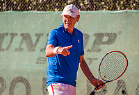 Hilversum, The Netherlands,  August 21, 2020,  Tulip Tennis Center, NKS, National Senior Tennis Championships, Men's single 70+,  Frank van Lerven (NED) calls the ball out<br /> Photo: Tennisimages/Henk Koster