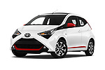 Stock pictures of low aggressive front three quarter view of a 2019 Toyota Aygo x-style 5 Door Hatchback