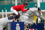 Spain's jockey Juan Riva with the horse Louisa during 102 International Show Jumping Horse Riding, King's College Trophy. May, 20, 2012. (ALTERPHOTOS/Acero)