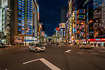 Looking down intersection at main street in Akihabara known as Electric Town in Tokyo, Japan