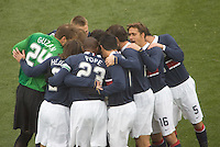 USA's Men's National Team huddles before playing Guatemala at Pizza Hut Park, in Frisco, Texas, Sunday, Feb. 19, 2006.