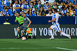 Leganes' Jonathan Cristian Silva and Real Sociedad's Joseba Zaldua during La Liga match. August 24, 2018. (ALTERPHOTOS/A. Perez Meca)