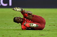 6th August 2020, Basel, Switzerland. UEFA National League football, Switzerland versus Germany;  Breel Embolo, SUI goes down after a heavy challenge