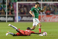 Bridgeview, IL, USA - Tuesday, October 11, 2016: Panama midfielder José González (20) and Mexico defender Jesús Molina (5) during an international friendly soccer match between Mexico and Panama at Toyota Park. Mexico won 1-0.