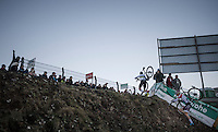 World Champion Wout Van Aert (BEL/Crelan-Vastgoedservice) is faster than Mathieu Van der Poel (NED/Beobank-Corendon) up the infamous steep 'wall' on the course<br /> <br /> 2016 CX Superprestige Spa-Francorchamps (BEL)