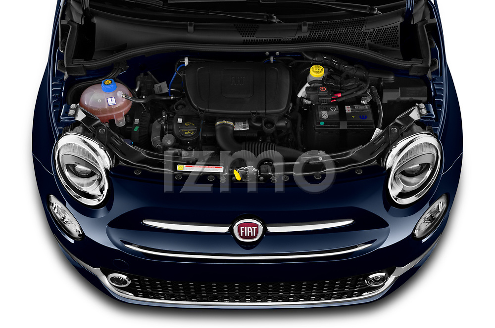 Car Stock 2020 Fiat 500C-HYBRID S8-Star 2 Door Convertible Engine  high angle detail view