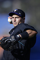 Greg Colbrunn of the Arizona Diamondbacks before a 2002 MLB season game against the Los Angeles Dodgers at Dodger Stadium, in Los Angeles, California. (Larry Goren/Four Seam Images)